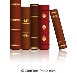 vetorial, livros, antigas, ilustração