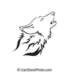 vetorial, lobo, ilustração