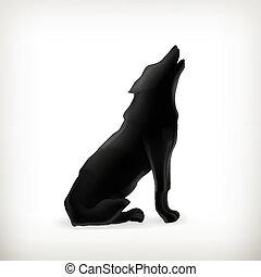 vetorial, lobo, silueta