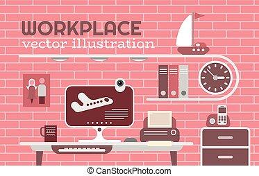 vetorial, local trabalho, ilustração