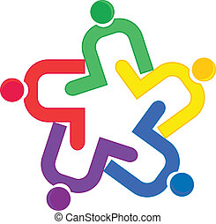 vetorial, logotipo, abraço, trabalho equipe