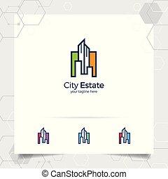 vetorial, logotipo, apartamento, architect., contratante, construção, real, residência, edifício., ícone, desenho, propriedade, propriedade, conceito