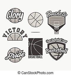 vetorial, logotipo, basquetebol, jogo, equipe