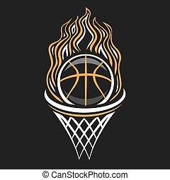 vetorial, logotipo, basquetebol