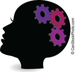 vetorial, logotipo, cabeça, mulher, engrenagem