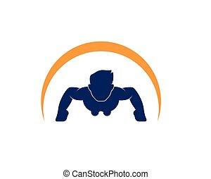 vetorial, logotipo, desenho, empurrão, ícone, cima, ...