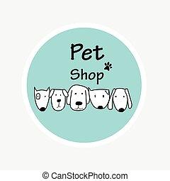 vetorial, logotipo, desenho, modelo, para, animal estimação, shops.