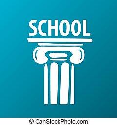 vetorial, logotipo, educação, antiga, coluna