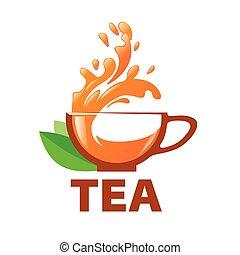 vetorial, logotipo, esguichos, em, um, xícara chá