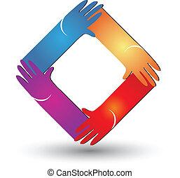 vetorial, logotipo, forma, diamante, mãos