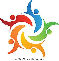 vetorial, logotipo, grupo, de, 5