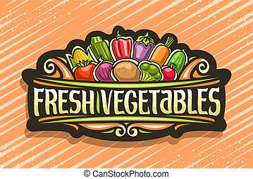 vetorial, logotipo, legumes, fresco