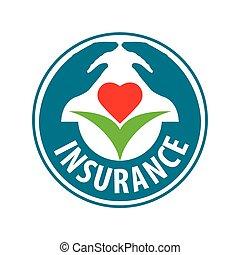 vetorial, logotipo, mão, guarda, flor, com, coração