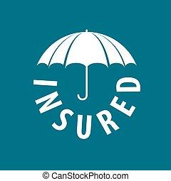 vetorial, logotipo, proteção, guarda-chuva, sob