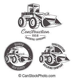 vetorial, logotipos, jogo, bulldozer.