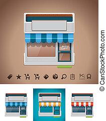 vetorial, loja, ícone, com, relatado, picto