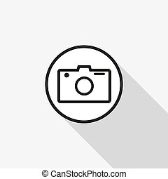 vetorial, longo, câmera, fundo, sombra, ícone