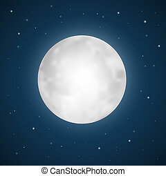 vetorial, lua cheia, ilustração, com, estrelas