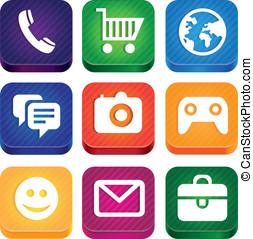 vetorial, luminoso, app, ícones