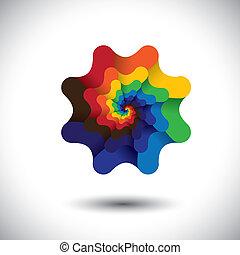 vetorial, luminoso, gráfico, coloridos, abstratos, -, espiral, elemento, experiência., cores, flor, desenho, infinito, logotipo, branca, design.