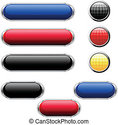 vetorial, lustroso, botões, para, teia