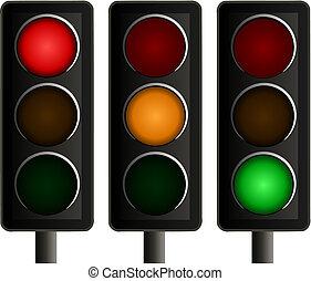 vetorial, luzes, jogo, tráfego, três