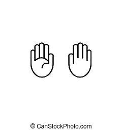 vetorial, mão, ícone