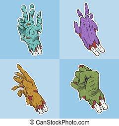 vetorial, mão, cobrança, zombie, ilustração, jogo
