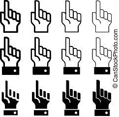 vetorial, mão, com, aviso, dedo indicador, -, fácil,...