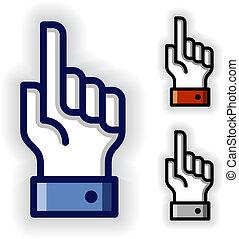 vetorial, mão, com, aviso, dedo indicador, símbolos