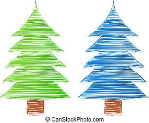 vetorial, mão, desenhado, árvores