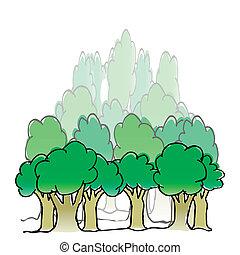 vetorial, mão, desenhado, floresta