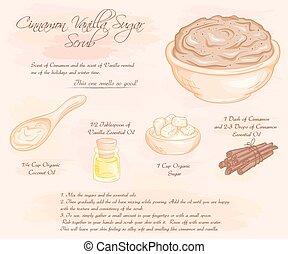 vetorial, mão, desenhado, ilustração, de, canela, baunilha, açúcar, esfregar, receita