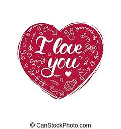 Coração Amor Semelhante You Texto Forma Letra Inglês Mão