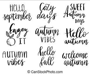 vetorial, mão, lettering, outono, frases, jogo