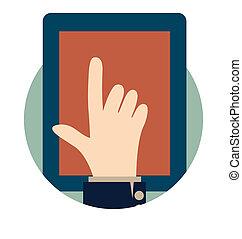 vetorial, mão., modernos, illustration., tabuleta