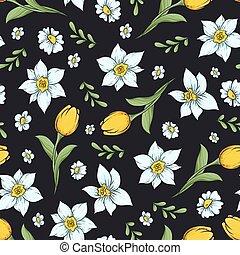vetorial, mão, padrão, daffodils., seamless, ilustração, desenho