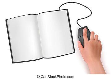 vetorial, mão, rato, computador, livro, ilustração