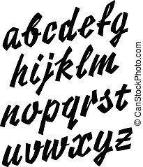 vetorial, mão, retro, caligrafia, lettering, alfabeto, font., limpo