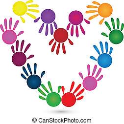 vetorial, mãos, de, forma coração, logotipo