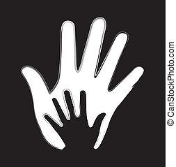 vetorial, mãos