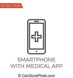 vetorial, médico, smartphone, app, ícone