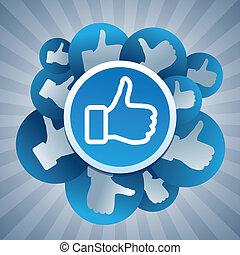 vetorial, mídia, conceito, social