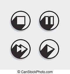 vetorial, mídia, diferente, jogo, icons.