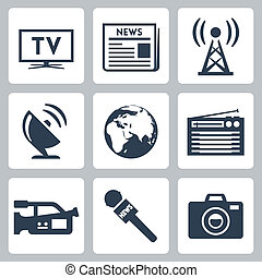 vetorial, mídia, jogo, massa, ícones