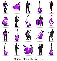 vetorial, música, elementos