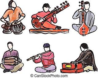 vetorial, músico, jogo, indianas