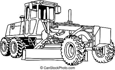vetorial, machine., escavador, ilustração, mão, grader,...
