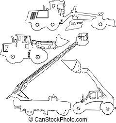 vetorial, machinery., jogo construção, silhuetas, ilustração