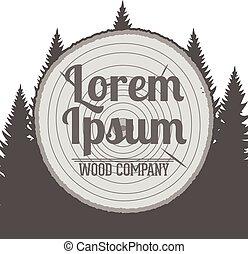 vetorial, madeira, emblema, serviço